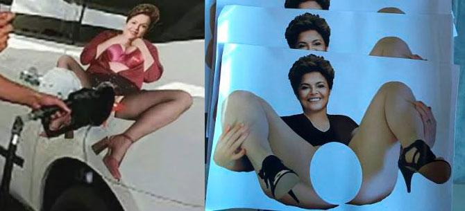 Banner para Presidenta Dilma é alvo de protesto contra preço abusivo do combustível