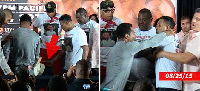 Banner para Boxeador provoca adversário dando um tapinha bunda da namorada do rival